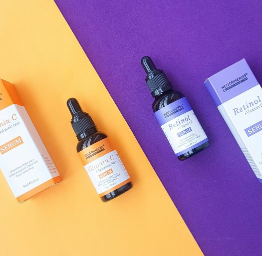 Nutriherbs Vitamin C + Hyaluronic Acid Serum & Retinol + Vitamin E Serum